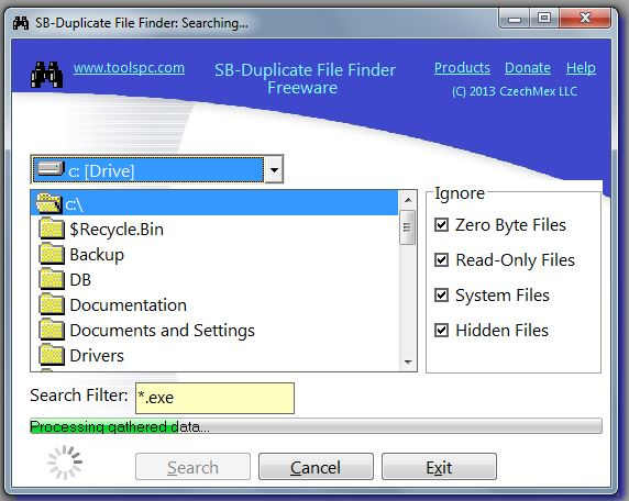 SB-Duplicate File Finder Processing Gathered Data